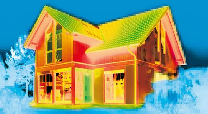 Wärmebildaufnahme einer Immobilie