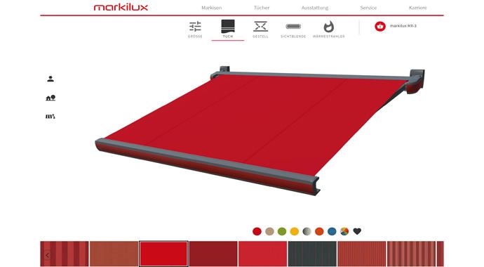 Screenshot Produktkonfigurator von markilux
