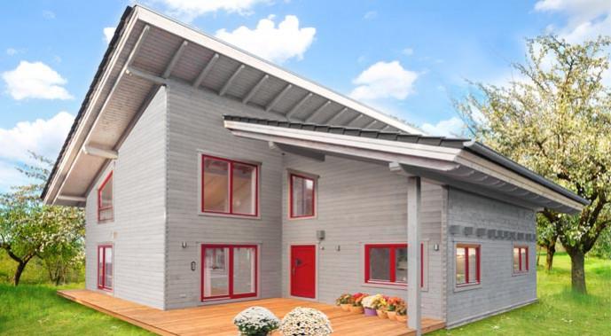 LéonWood Blockhaus Falcon Grey Außenansicht