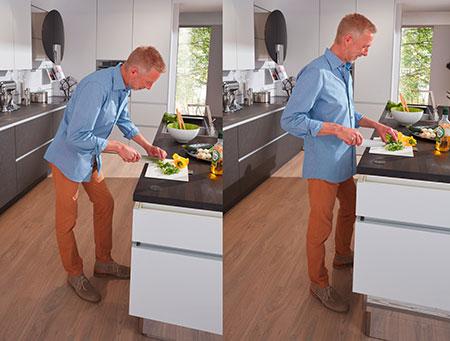 Höhenverstellbare Küchenarbeitsplatte