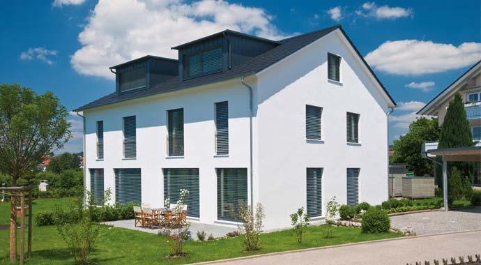 Doppelhaus mit Ziegelmauerwerk