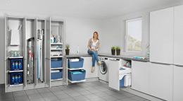 Die Hailo Laundry Area besteht aus vielen intelligenten Einbaumodulen.