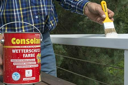 Consolan Wetterschutzfarbe für Holzgeländer