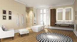 Im Mittelpunkt befindet sich die freistehende Badewanne mit einer Einhand-Wannenbatterie und Brausehalter.