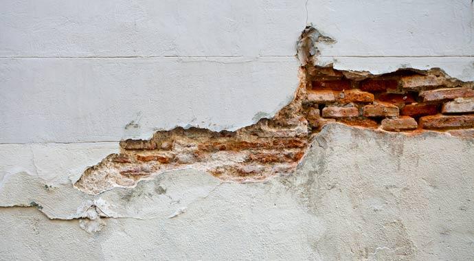 Beschädigte Fassade