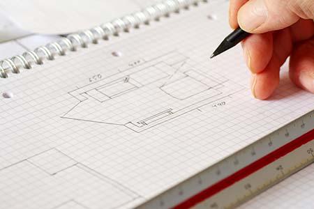 Skizze eines Hausentwurfs