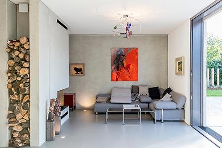 Wohnbereich Einfamilienhaus in München aus Betonfertigteilen