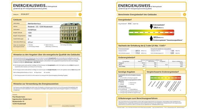 Energieausweis für Wohngebäude.