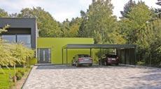 Grundstücke weisen oft unterschiedliche Geländehöhen auf. Ein flexibles Carport-System aus Stahl ist da die richtige Lösung.