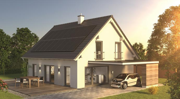 Haus mit Photovoltaik-Anlage