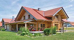 Außenansicht Blockhaus Lingenauber von Hulta-Haus