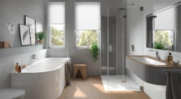 Kleines Bad ausgestattet mit Produkten von Kaldewei