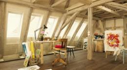 Das ursprüngliche, rustikale Ambiente des Baudenkmals blieb erhalten und wurde mit den Funktionalitäten eines modernen Ateliers verbunden.