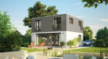 Dennert Flachdachhaus Icon-Cube Außenansicht