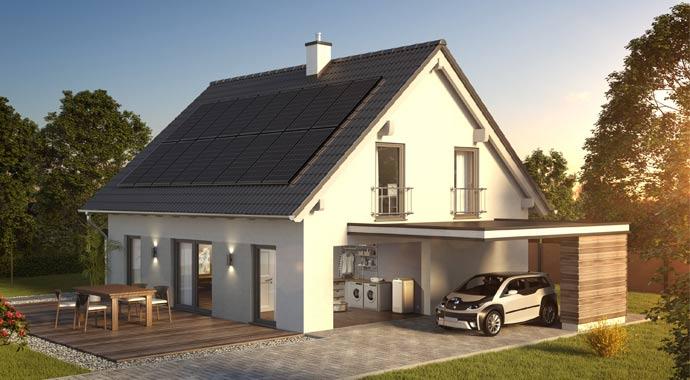 Hausdach mit Photovoltaik-Anlage von SENEC